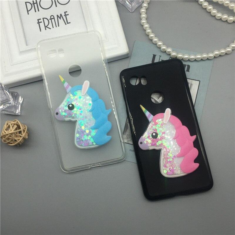 3D Unicorn Quicksand Liquid Soft Silicone Case For Google Pixel 2 XL / Pixel XL 2 Phone Cover Cartoon Diamond Funda Coque