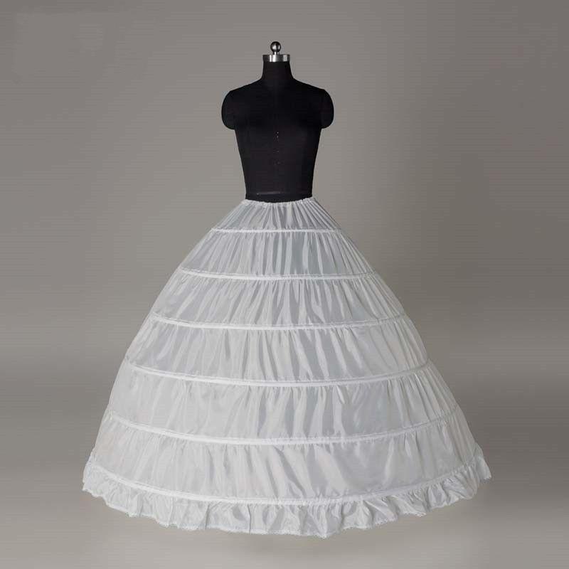 6 Hoop Long Bridal Wedding Dress Petticoat Crinoline Ball Gown Mariage Skirt Underskirt Wedding Accessories