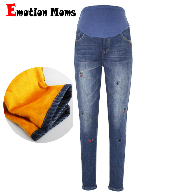 Emotion Moms Elastic Waist Maternity Clothes Winter Thicken Maternity Jeans trousers For Pregnant Women Fine pregnancy Pants trendy snow wash slimming elastic waist capri jeans for women
