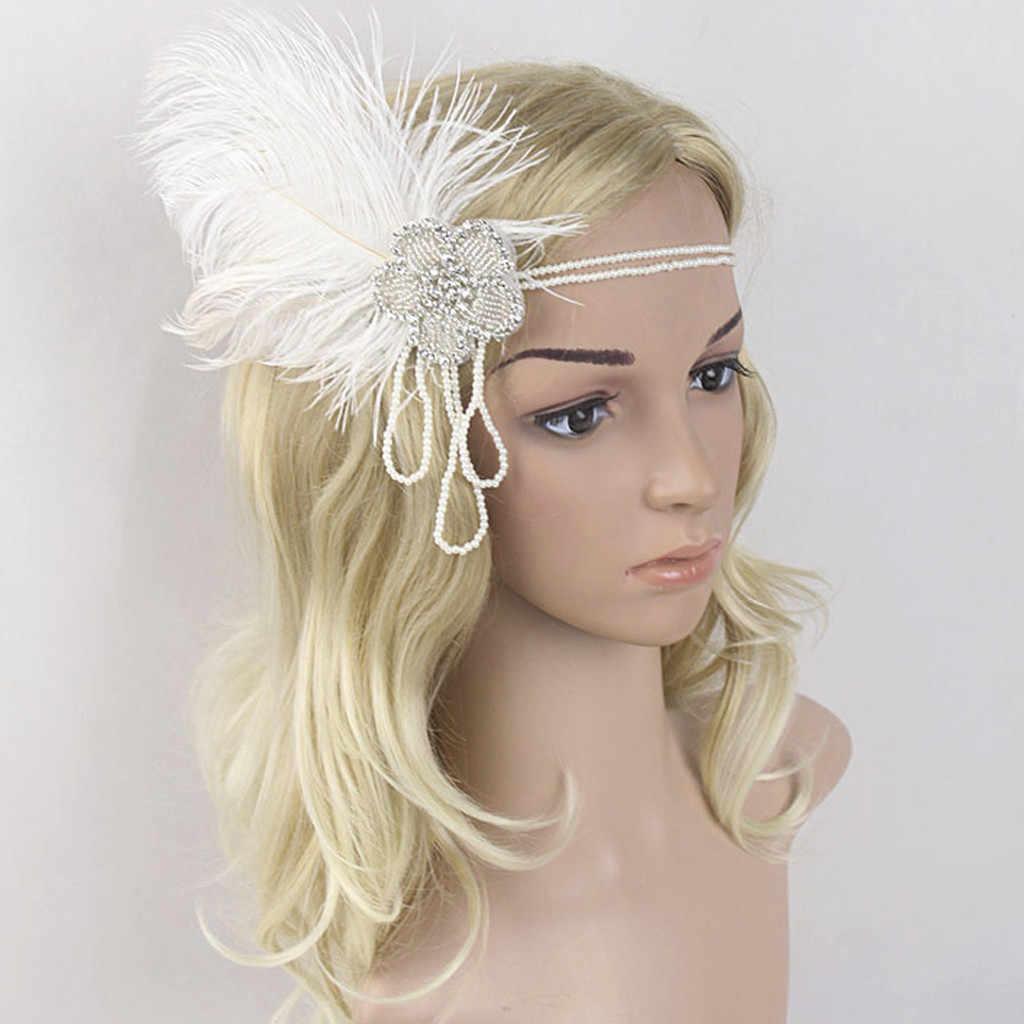 Flor flapper pena diamantes branco headbands para meninas acessórios cristal frisado headpiece casamento opaska # zc