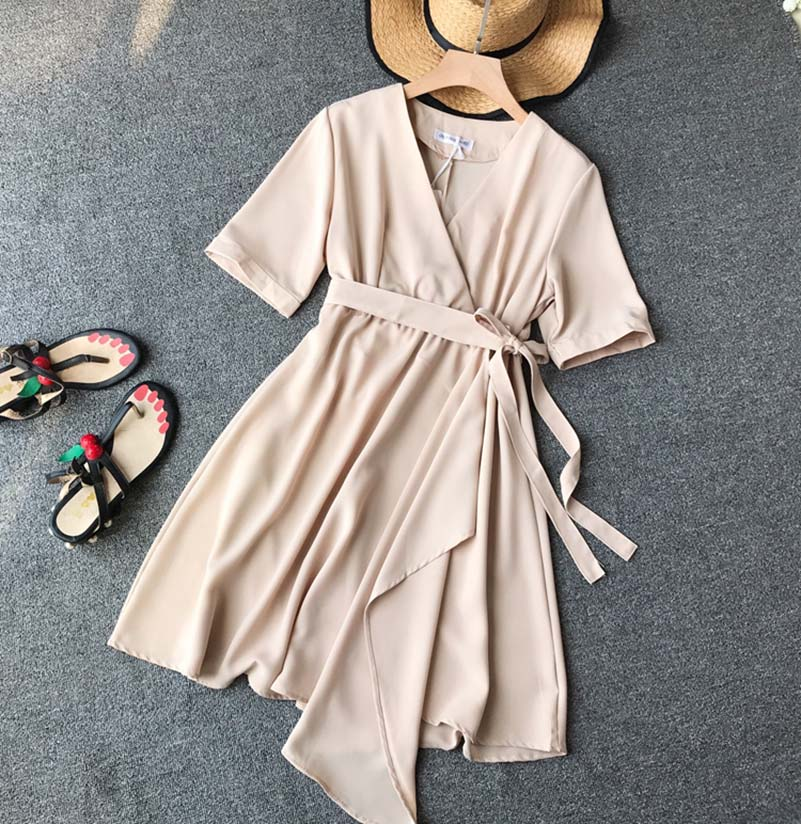 NiceMix 2018 new fashion women 39 s dresses retro romantic V neck high waist irregular Midi dress female Summer Dress New Fashion in Dresses from Women 39 s Clothing