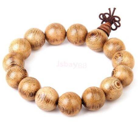 free shipping Wenge Wood Tibetan Buddhist Buddha 15mm Prayer Beads Mala Stretch Tibetan Bracelet