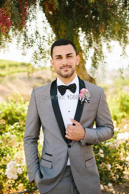2018 Custom Made Light Grey Men\'s Suit Black Shawl Lapel One Button ...
