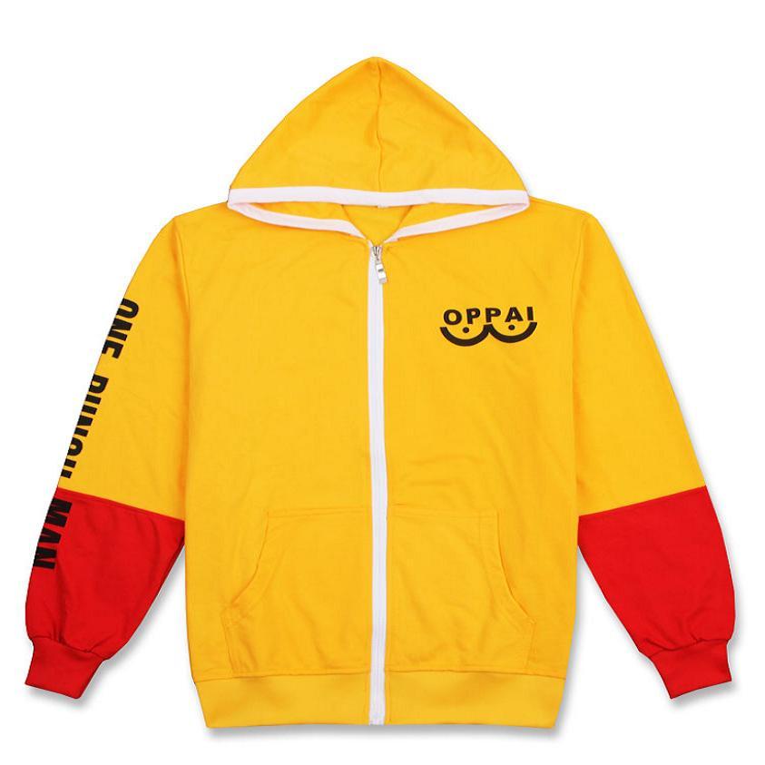 High Q Unisex ONE PUNCH MAN oppai Saitama font b Hoodies b font coat Cardigan Print