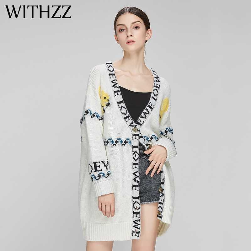 WITHZZ Autumn Winter Long Animal Print Letter Cardigan Sweater Knit Coat for Women Female Clothes Plus Size Top Jacket