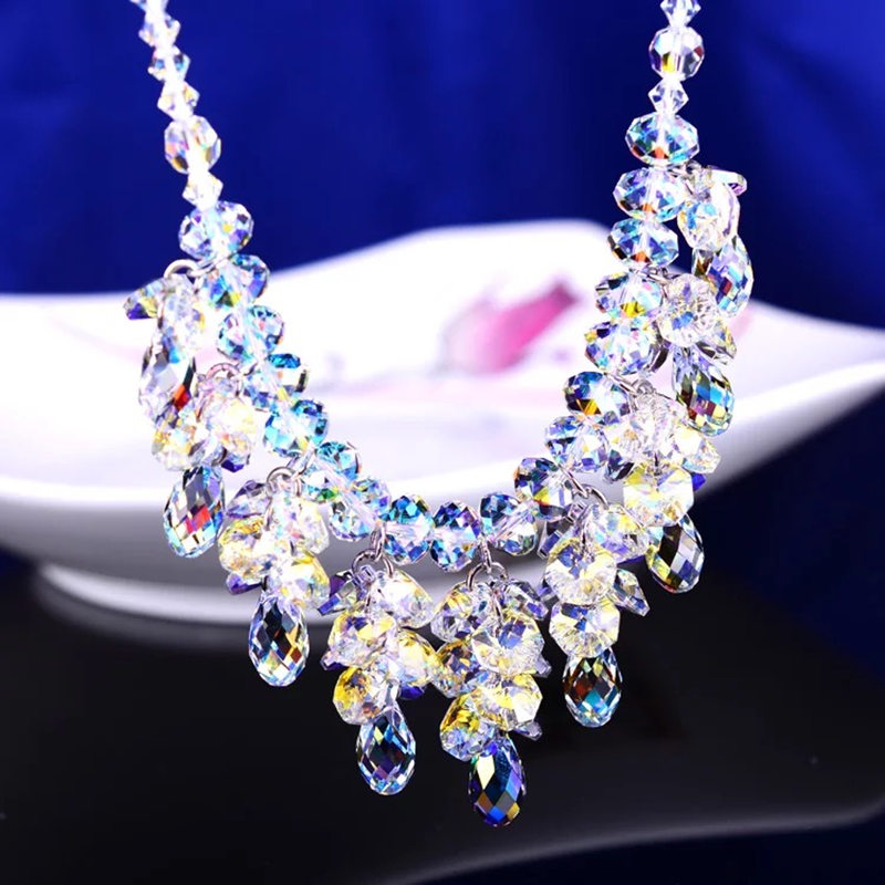 Europe Style Luxury Exquisite Crystal Handmade Beaded Necklaces Trendy Clavicular Chain Wedding Party Jewelry Gifts For Women