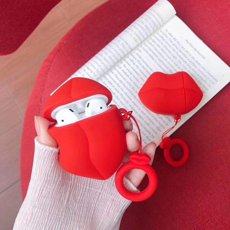 Sexy Red Lip Earphone Case For Airpods Case Finger Ring Silicone Case Cover For Airpods 2 Earphone Bag Protective Earbuds Cover
