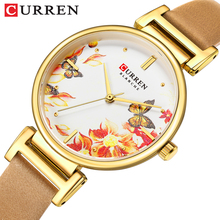 CURREN New Arrival Women Watch Flower Butterfly Bohemia Quartz Lady Golden Leather Band Quality Female Watches Clock Reloj Mujer