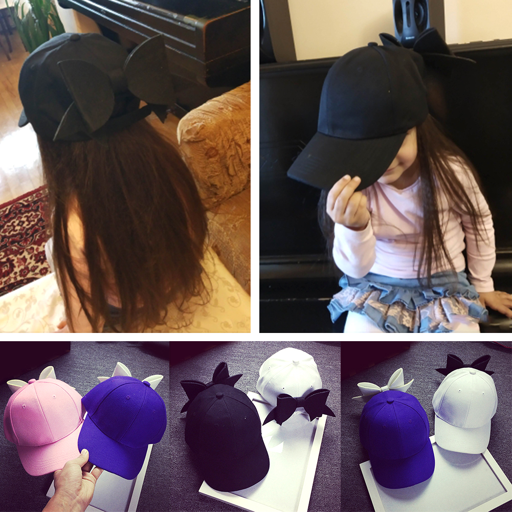 Fashion Oversized Bow   Baseball     Cap   Adjustable Hip-Hop Solid Color Snapback Hat Cute Women Children's Casual Summer Visor Hats