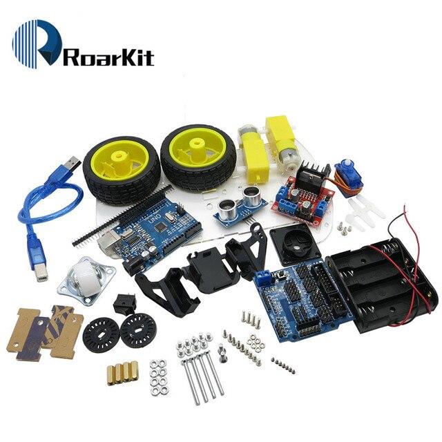 Nouveau moteur de suivi d'évitement Robot intelligent Kit de châssis de voiture encodeur de vitesse boîtier de batterie 2WD module à ultrasons