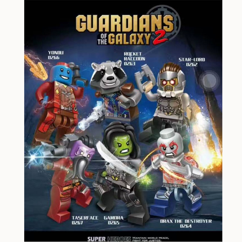 Marvel SuperHeroes minifigure Guardians of the Galaxy 2 Star-Lord Rocket mini figure Building Blocks Bricks FIT for legos Toys