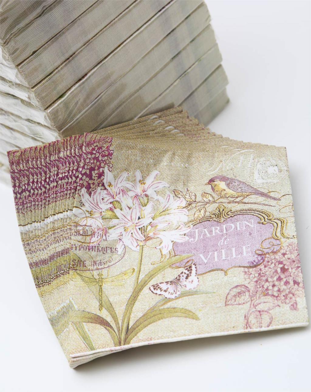 Vintage Table Napkin Paper Tissue Printed Black White Flower