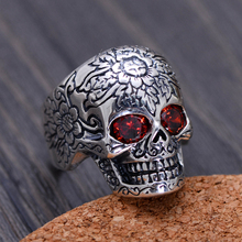 925 Sterling Silver Rings For Men Skull Ring With Natural Stone Red Garnet Vintage Punk Rock Gothic Bague Argent Fashion 2017