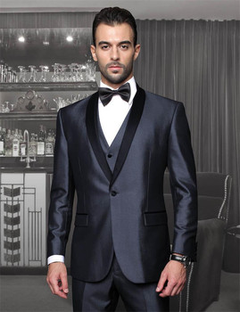 Italian custom made Navy Blue groom suits Black Lapel One button Jacket+Pants+Tie+Vest mens tuxedos for wedding Groomsmen suits