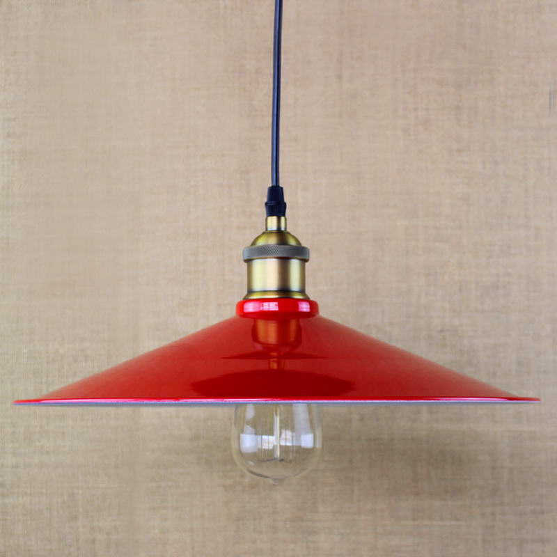 Edison Simple vintage metal red cover pendant lamp For Kitchen Lights Cabinet Living dining room shop coffee shop office loft simple retro edison industrial clear glass metal pendant lamp lights for cafe bar dining room shop living room store decor