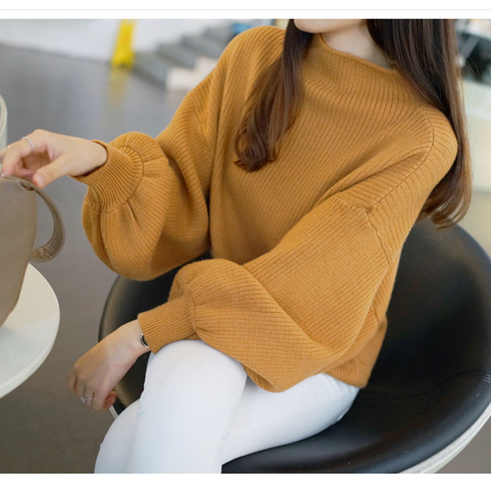 Women Lantern Sleeve Knit Sweater Women Pullovers Winter Jumpers Knitwear Loose Turleneck Outwear Winter Tops For Women #38