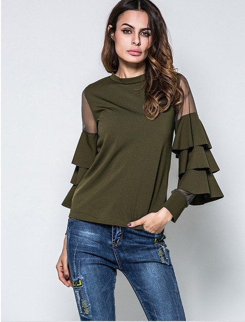 4a6ef056 2018 New Arrival women's flare sleeve tops shirts girls casual army green tops  lady sexy black