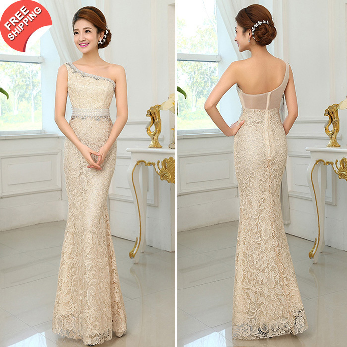 Free shipping 2016 New Arrival Luxury Elegant One-Shoulder Lace - Special Occasion Dresses