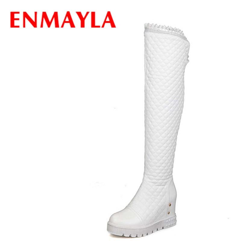 ENMAYLA Madhësia e Madhe 34-44 Wedizmet e reja me platformë me takë të lartë ootizmet për gratë mbi çizmet e larta të gjurit