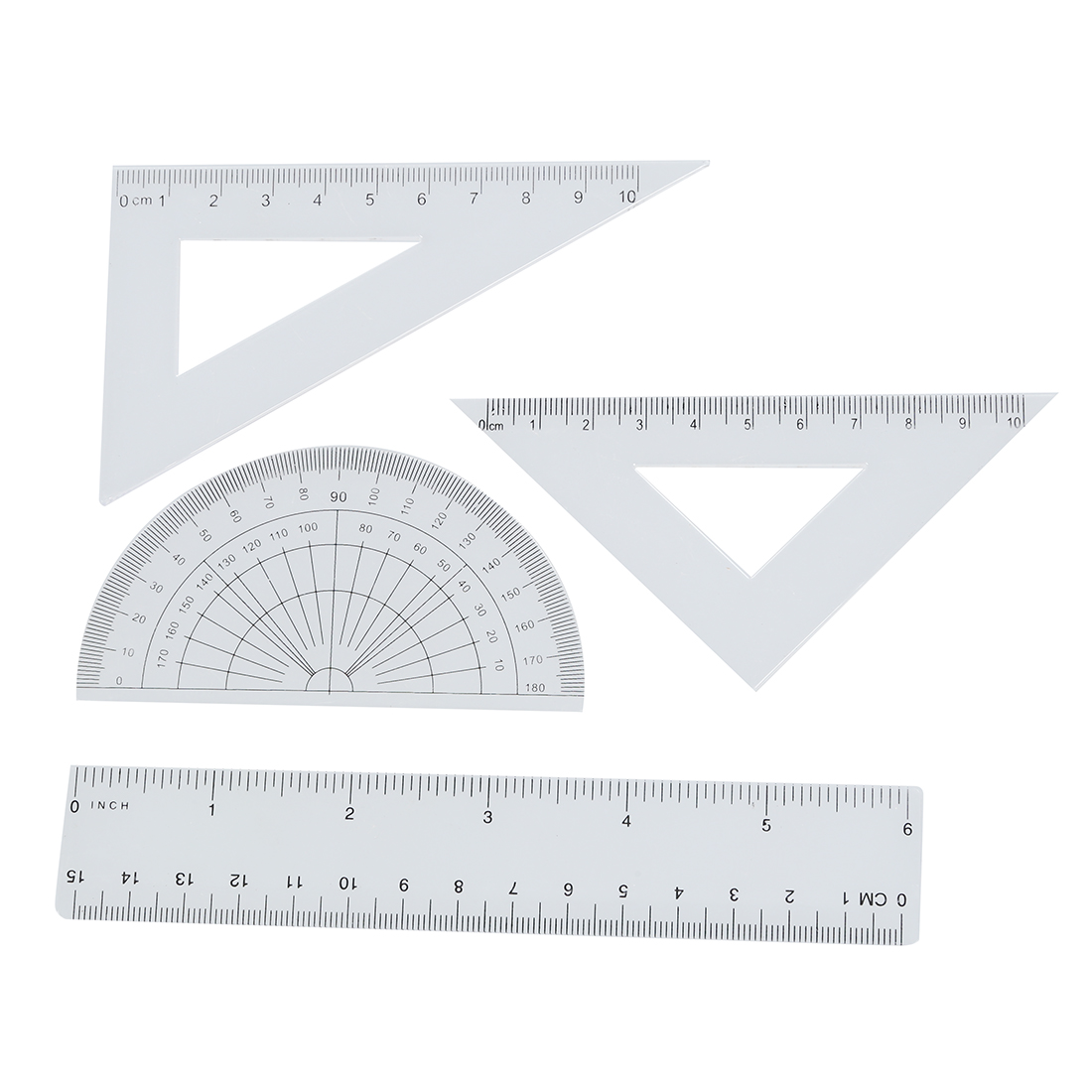 Students Maths Geometry Study Stationery Ruler Set Squares Protractor
