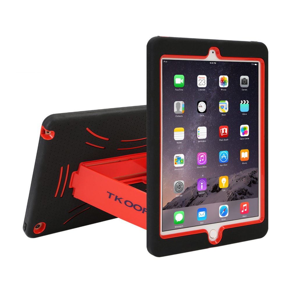 For iPad air 2 Heavy Duty Shockproof Case For iPad Air 2 Rugged Hard Skin Rubber Hybrid Cover Stand for ipad air cover case for ipad pro 12 9 case tablet cover shockproof heavy duty protect skin rubber hybrid cover for ipad pro 12 9 durable 2 in 1