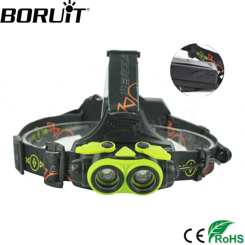 BORUiT 3000LM XM-L2 LED Headlamp 3-Mode Zoom Headlight USB Rechargeable Head Torch Camping Flashlight Hunting 18650 Battery boruit b10 xm l2 led headlamp 3 mode 3800lm headlight micro usb rechargeable head torch camping hunting waterproof frontal lamp