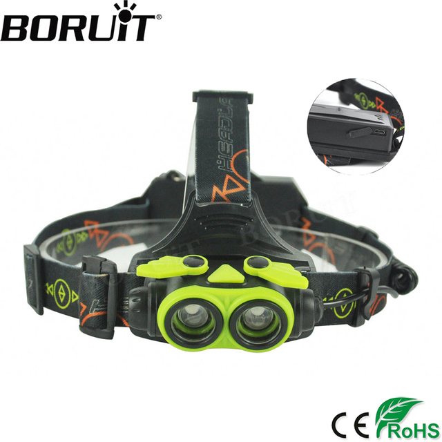 BORUiT 3000LM XM-L2 LED Headlamp 3-Mode Zoom Headlight USB Rechargeable Head Torch Camping Flashlight Hunting 18650 Battery