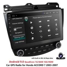 Ossuret 10,1 Android 9,0 Car radio GPS navegación para Honda ACCORD 7 2003-2007 Multimedia DVR SWC FM CAM-En BT USB DAB DTV OBD PC