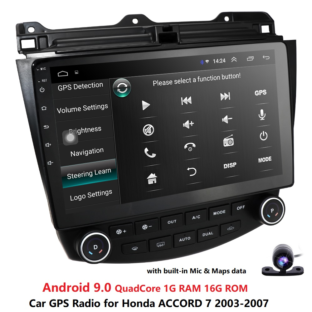 Ossuret 10.1Android 9.0 Car <font><b>radio</b></font> GPS Navigation for <font><b>Honda</b></font> <font><b>ACCORD</b></font> 7 2003-2007 Multimedia DVR SWC FM CAM-IN BT USB DAB DTV OBD PC image
