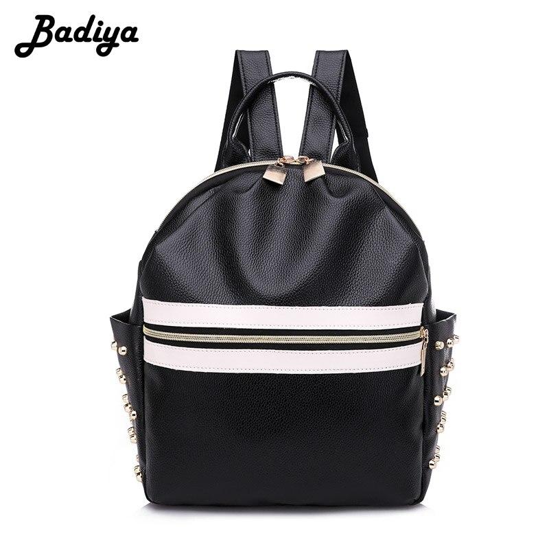 New Fashion Rivet Backpack For School Teenagers Girls Casual Style Women Zipper Back Pack Female Bolsa