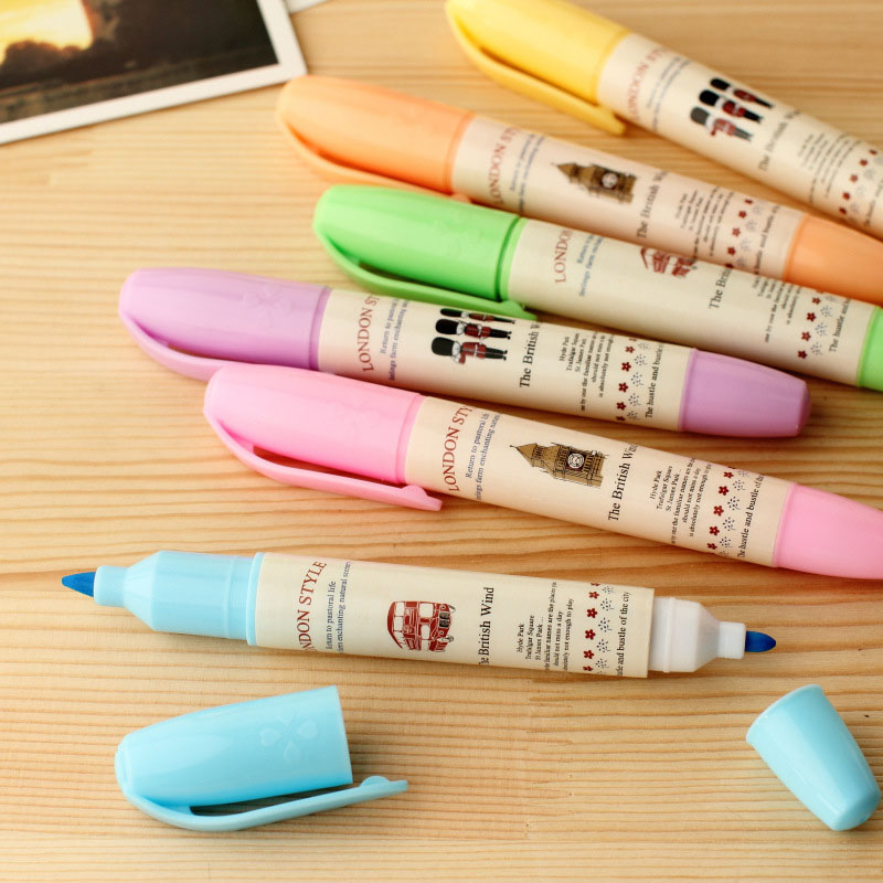 DIY Cute Kawaii Plastic Colored Highlighters Creative Double Head Markers For Painting Drawing Artificial decoration 1512