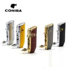 COHIBA Red Cloud Snake Mouth Shape Metal Windproof 3 Torch Jet Flame Cigarette Cigar Lighter with Cigar Punch Pocket Lighter
