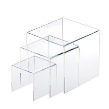 3,4, 5 дюймов квадратный акриловый 1/8 ''прозрачный 3 шт стояк дисплей стенд витрина набор для настройки ювелирных украшений или косметики продукты