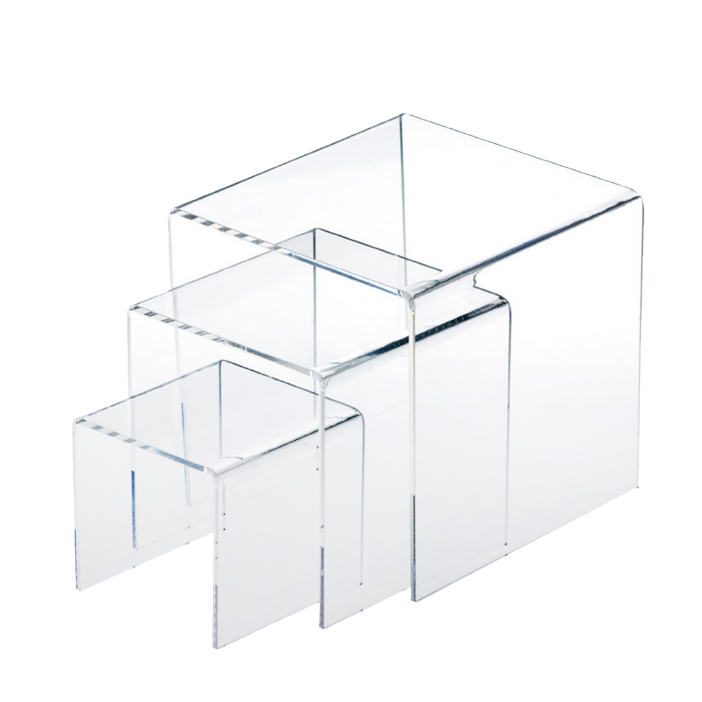 3,4,5 Inch Square Acrylic 1/8'' Clear 3 Pieces Riser Display Stands Showcase Set To Set Up Jewerly Or Makeup Products