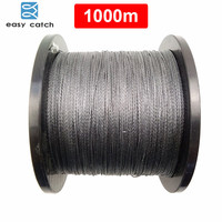 Easy Catch 1000m 1100 Yards 100 PE Braided Fishing Line Grey Braid Multifilament Super Strong Fishing