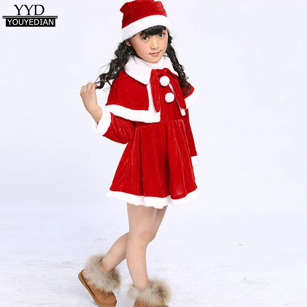 Active Toddler Children Girls Christmas Clothes For Costume Party Dresses+shawl+hat Santa Claus Costumes Mini Dress For Girls #1125