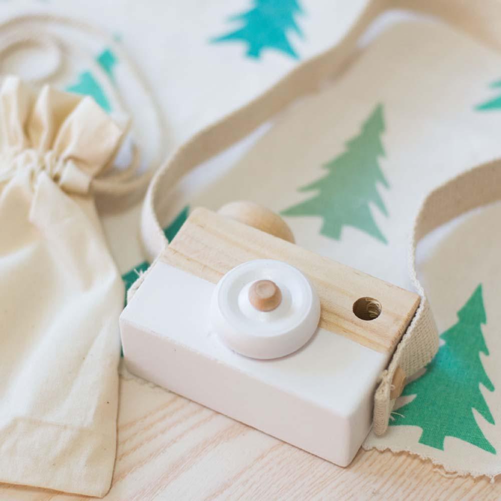 Kids Baby Wooden Toy Camera Minimalist Simulation Camera Christmas Gift White Wooden Simulation Camera Hanging Toy