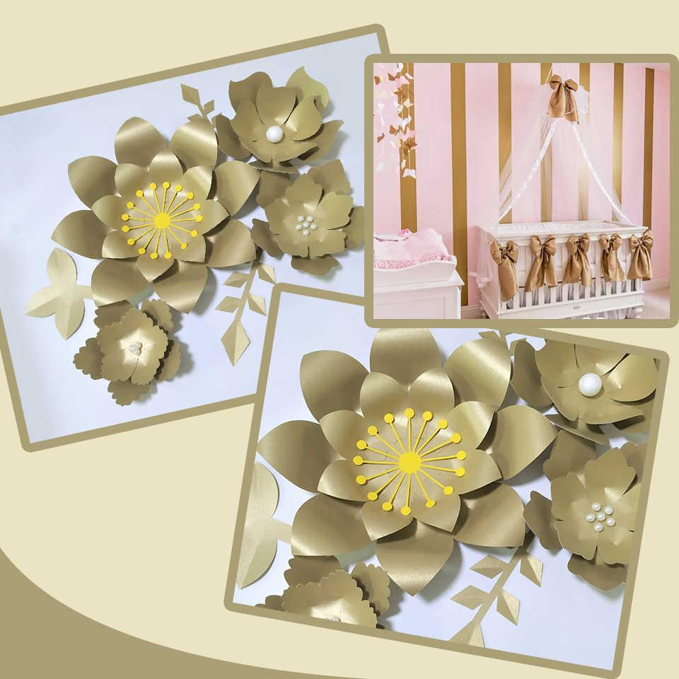 Buatan Tangan Emas Flor Diy Kertas Bunga Daun Emas Set Untuk Latar Belakang Dekorasi Nursery Wall Deco Kamar Anak Perempuan Video Tutorial Buatan Bunga Kering Aliexpress