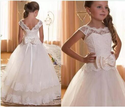 2018 Miaoyi New Puffy Tulle with Bow White Lace Flower Girls Dresses For Wedding Capped Sleeves First Communion Dress Size 2-16Y new puffy girls dress white ivory lace tulle with sash 2017 custom first communion dress any size