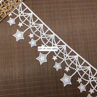 High Grade 5Yards Lot Width 11cm White Milk Silk Lantern Style Hanging Five Pointed Star Lace