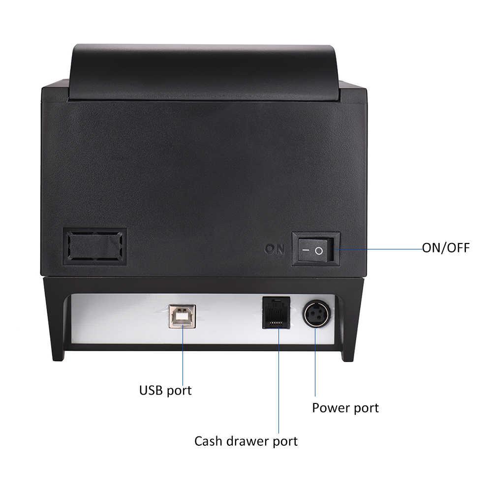 Cortador automático de impresora de recibos térmicos de 80mm BT Compatible con comandos ESC/POS Puerto USB impresión clara para iOS android Windows