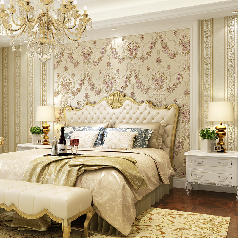 beibehang deep embossed pastoral 3d flooring Bedroom TV Background Wall Paper Home Decor Living Room Non woven Mural Wallpaper in Wallpapers from Home Improvement
