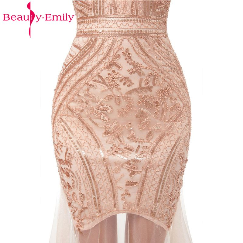 Купить с кэшбэком Beauty-Emily Sequins Golden Beading Evening Dresses Mermaid Long Formal Prom Party Dresses 2019 New Style