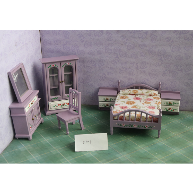 G07-X013 children baby gift Toy 1:12 Dollhouse mini Furniture Miniature rement Doll accessories kids bedroom purple 7pcs/set