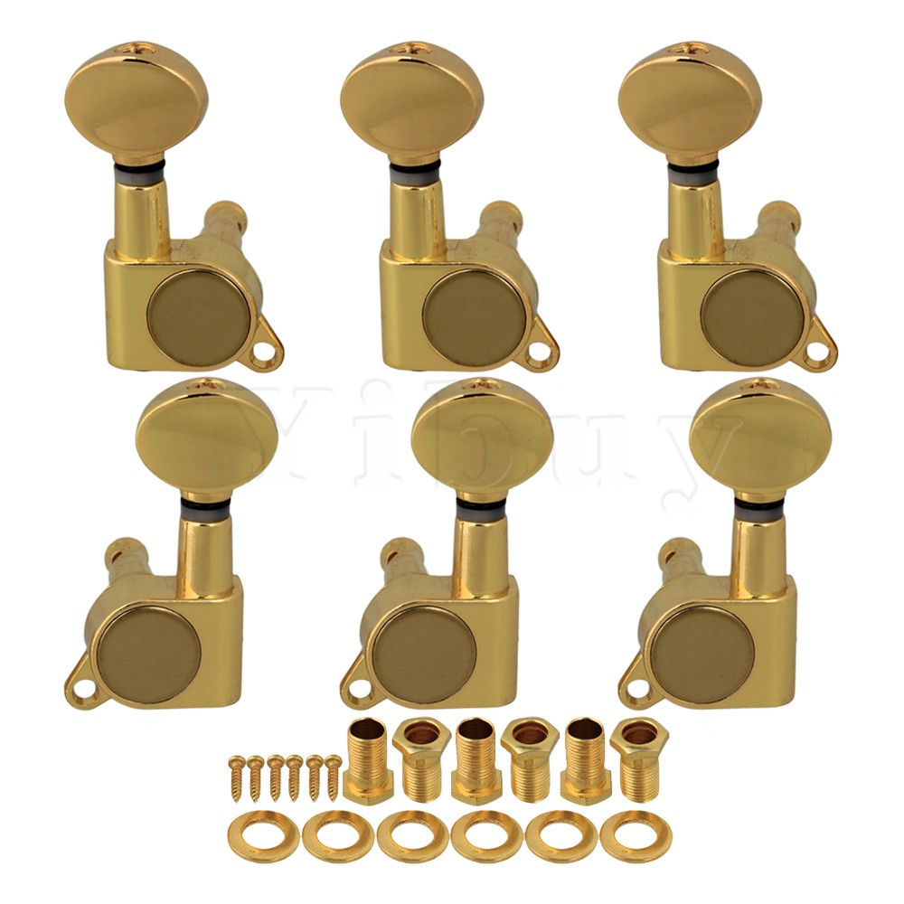 Yibuy Gold Guitar String Tuning Pegs Tuners Machine Heads 3L/3R