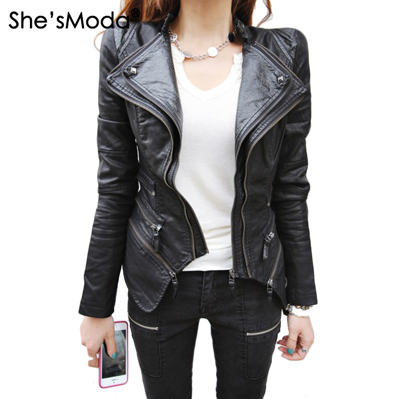 Women Studded Shoulder Pads Spliced Snake Double Lapels Zipper Dovetail Faux Leather Biker Jacket