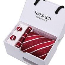 Red Striped 7.5 cm tie cufflink Handkerchief  Check New 100% Silk Jacquard Woven Classic wedding business group men