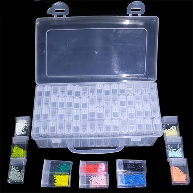 Diamant peinture accessoires 64 grille conteneur boîte bricolage Diamant broderie mosaïque outils perle Transparent plastique forage stockage
