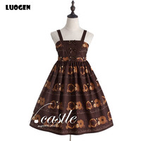 Cute Women S Party Dresses Doughnut Biscuit Print Princess Sweet Lolita JSK Dress Sleeveless Elastic Strap