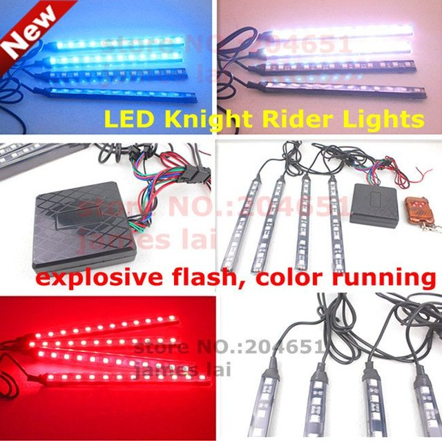 Colorful RGB 5050SMD LED Knight Rider Lights Remote control 12V car Strobe flash warning decoration light lamp Waterproof